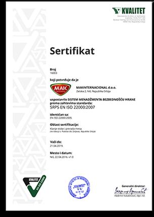 Resertifikacija standarda ISO 22000:2007